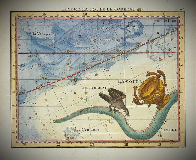 Hydra Hydre Corbeau Coupe Crater Corvus Constellations Flamsteed Jean-Brice GAYET