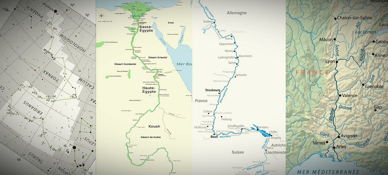 L'Eridan. Eridanus. Nile. Rhône. Rhin.