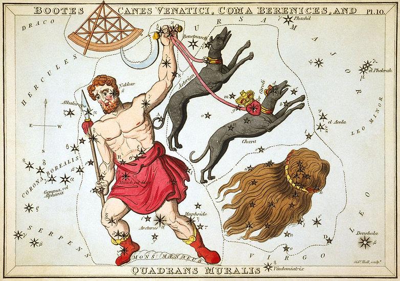 """""""Bottes, Canes Venatici, Coma Berenices, et Quadrans Muralis"""", planche 10 extraite duMiroir d'Uranie, un jeu de cartes célestes accompagné d'un traité de vulgarisation sur l'astronomie de Josaphat Aspin."""