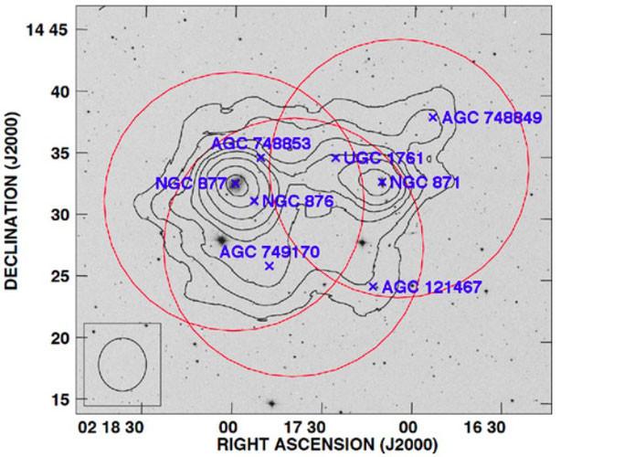 Groupe NGC 871 en imagerie HI