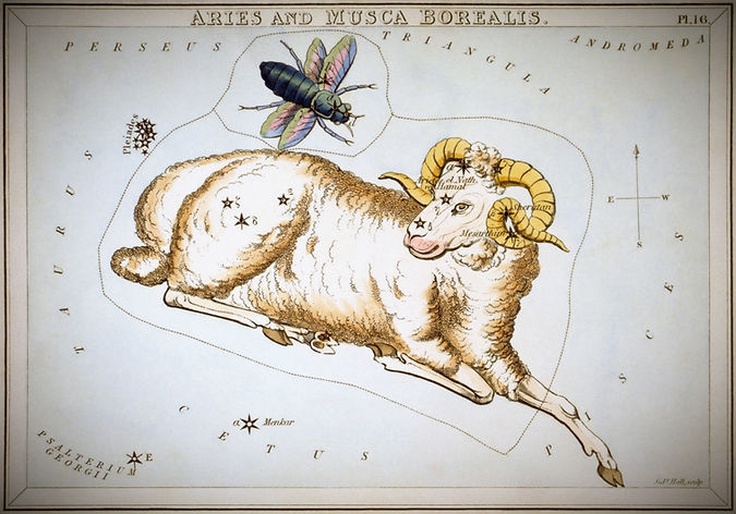 Le Bélierreprésenté dans l'Urania's Mirror, un ensemble de cartes des constellations