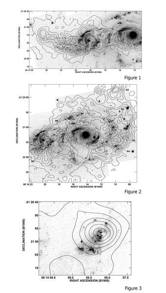 Colonnes de densité HI de la paire NGC 2207 / IC 2163