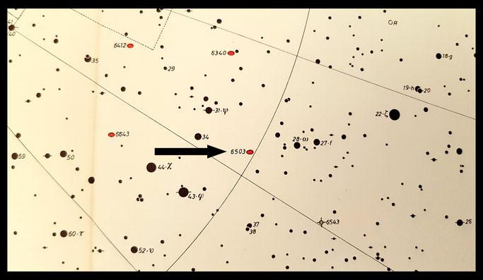 NGC 6503 dans le ciel