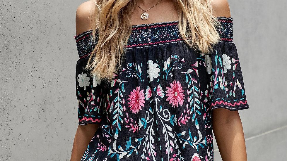 Black Floral off Shoulder Tunic Top Blouse