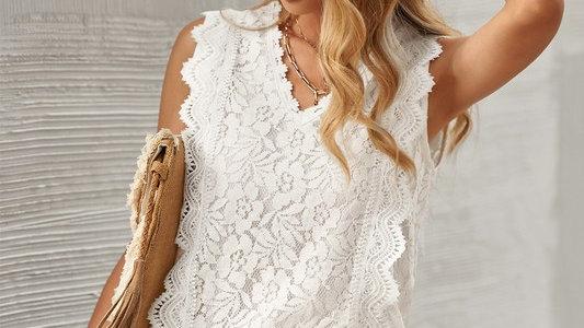 Ivory lace V neck tank top tunic
