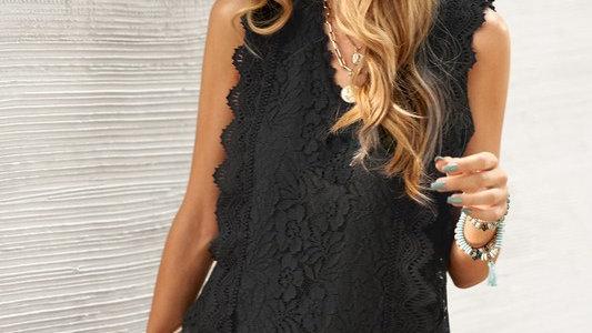 Black lace V neck tank top tunic
