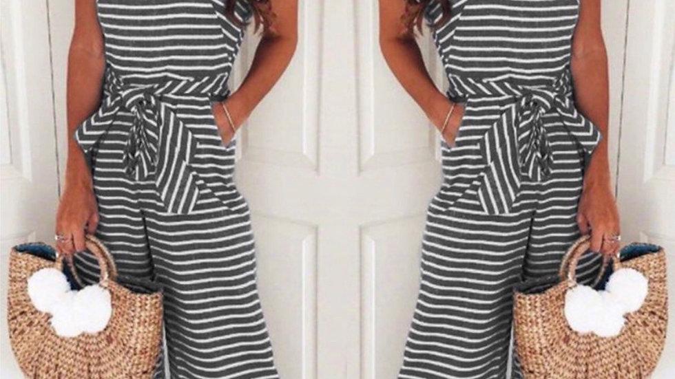 Black striped crop pant jumpsuit