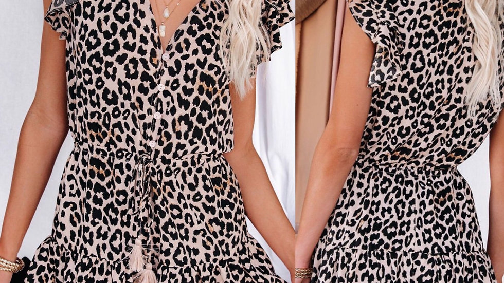 Leopard ruffled tie waist romper