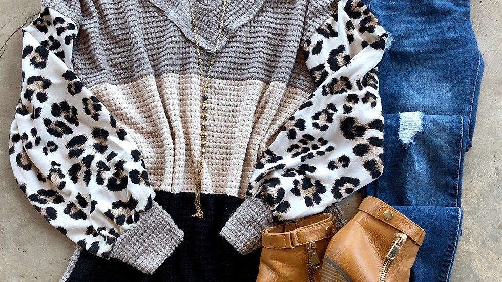 Gray beige waffle leopard sleeve tunic