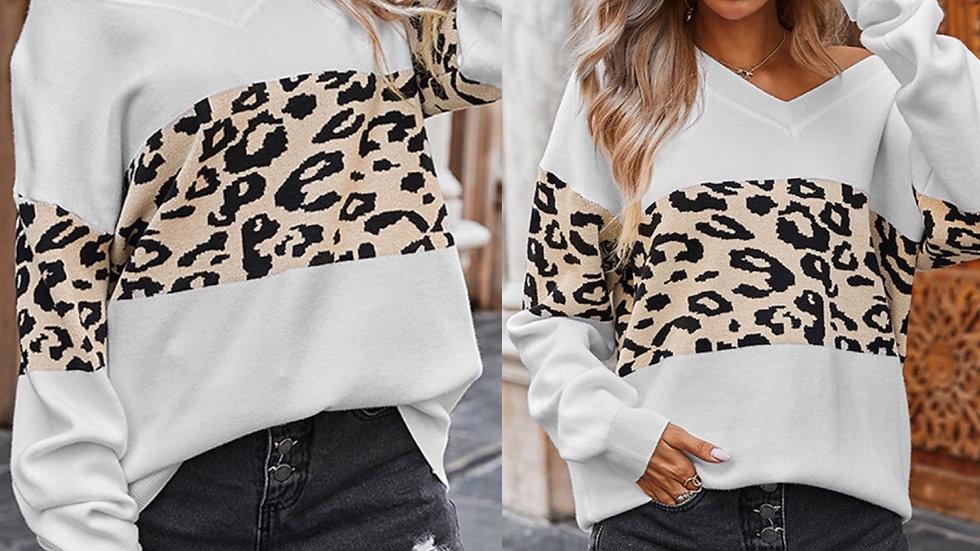 White  leopard print v neck pullover sweater