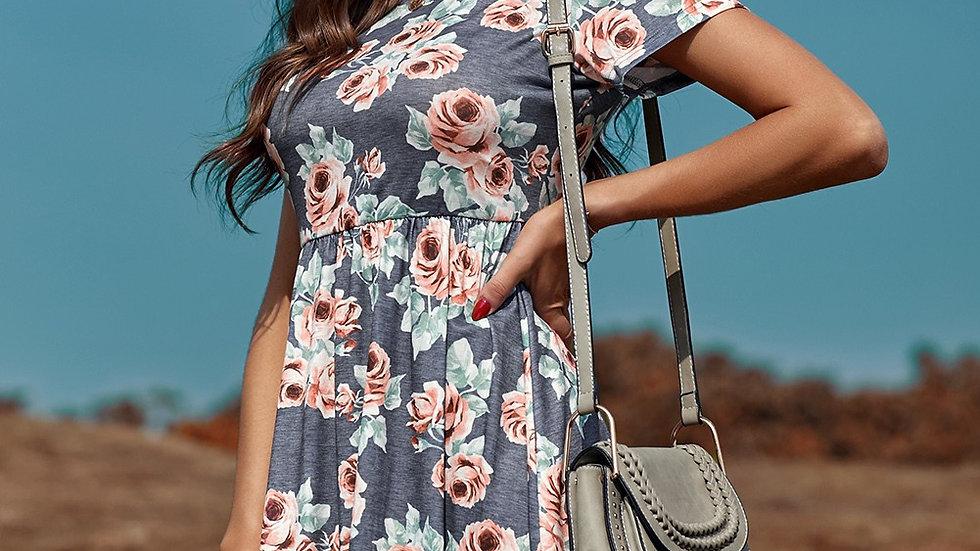 Gray Short Sleeve Floral Print Midi Dress