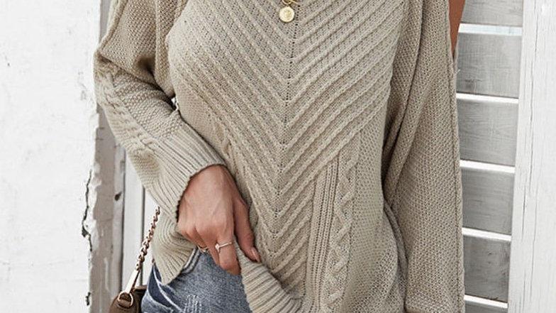Beige Cold Shoulder Ribbed Sweater