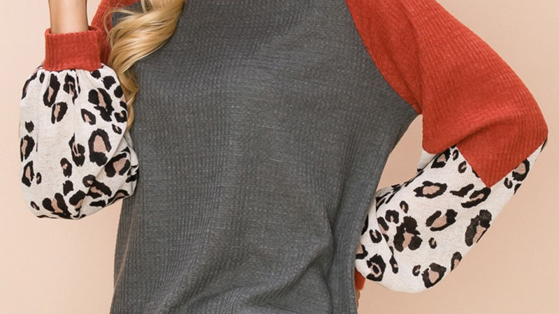 Waffle Solid Leopard Bubble Sleeve Tunic
