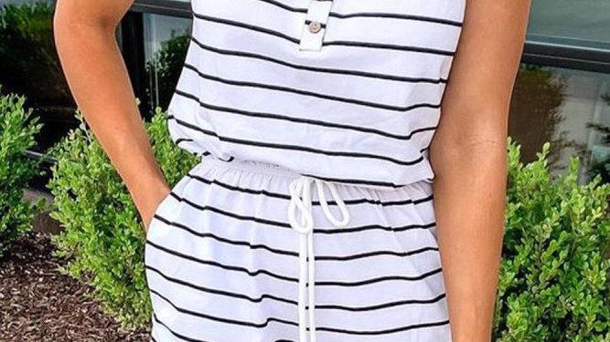 White striped drawstring romper