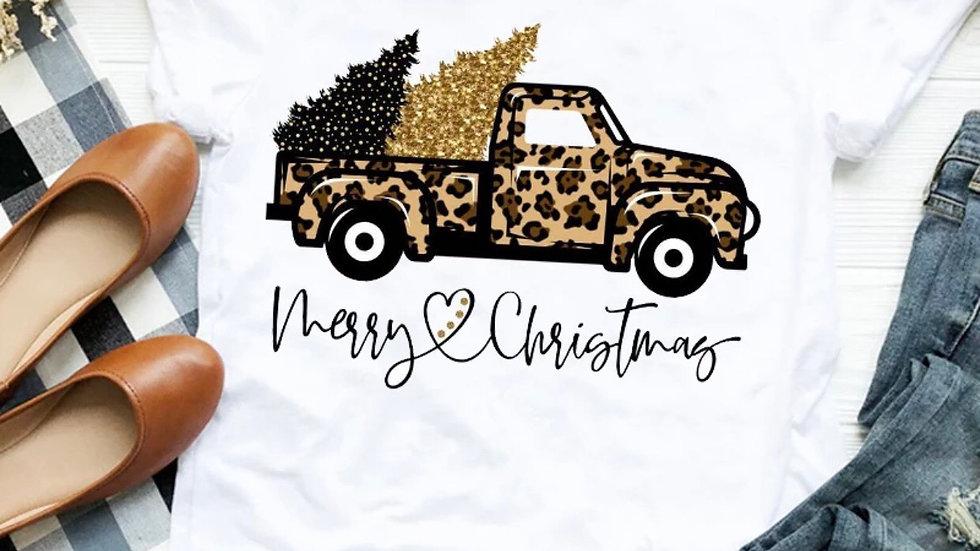 Merry Christmas leopard vintage Tee