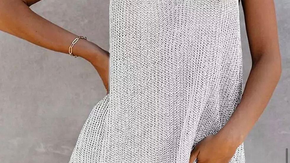 Gray solid knit halter tank top