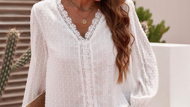 White Swiss dot lace blouse