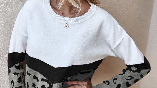 Leopard print colorblock sweater