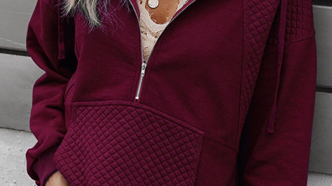 Maroon 1/2 zip ribbed pullover