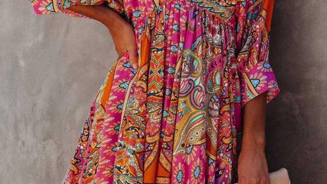 Multi color bohemian midi dress