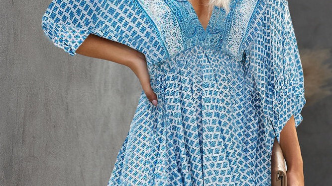 Blue floral bohemian print midi dress
