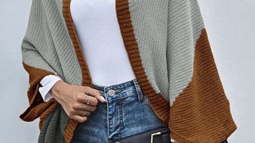 Gray/Beige Colorblock Open Cardigan Sweater