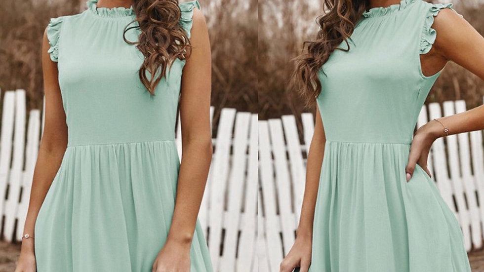 Mint blue ruffled midi dress