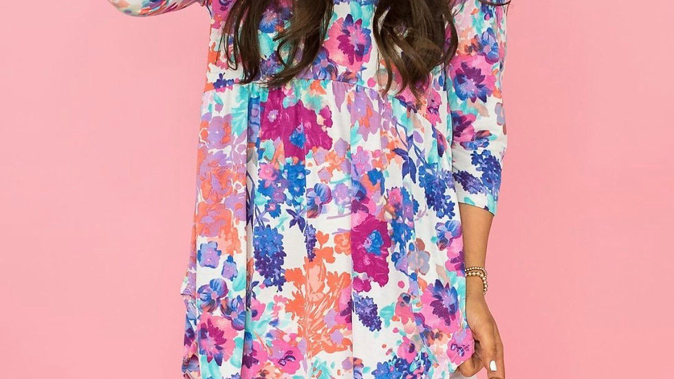Ivory floral print tunic blouse top