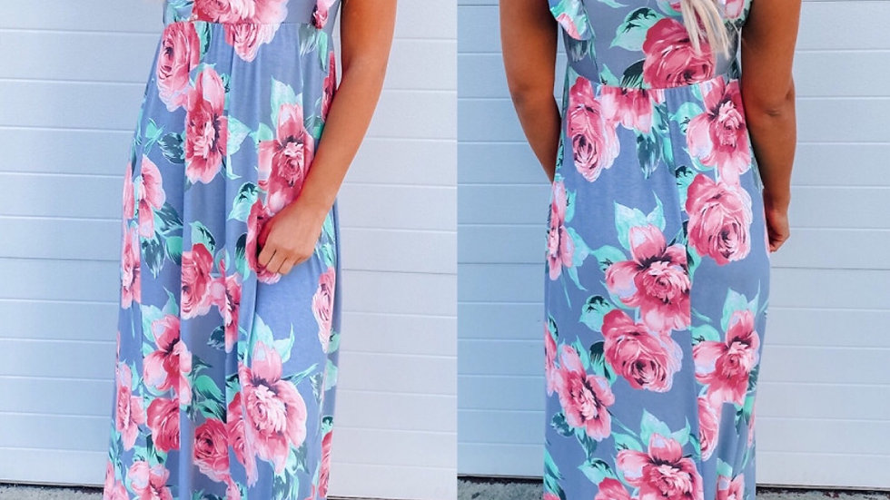 Blue floral prin maxi dress