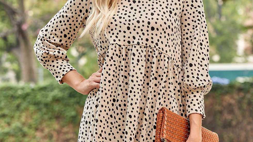 Taupe Leopard Print Baby Doll Dress