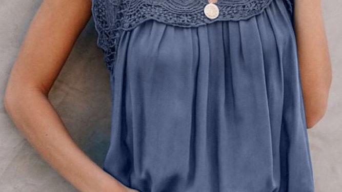 Blue lace crochet blouse