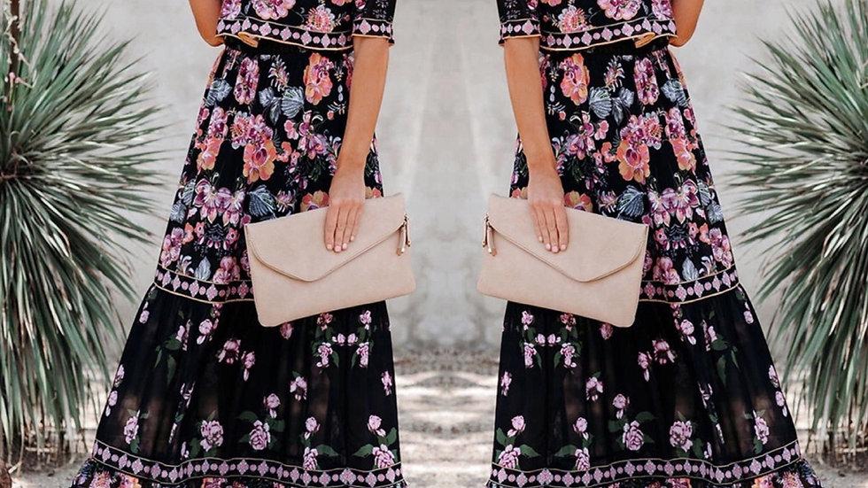 Black floral off shoulder maxi dress
