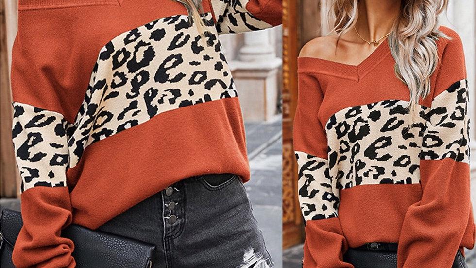 Orange leopard print v neck pullover sweater