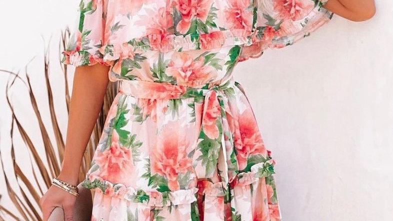 Red Floral Print Off Shoulder Mini Dress