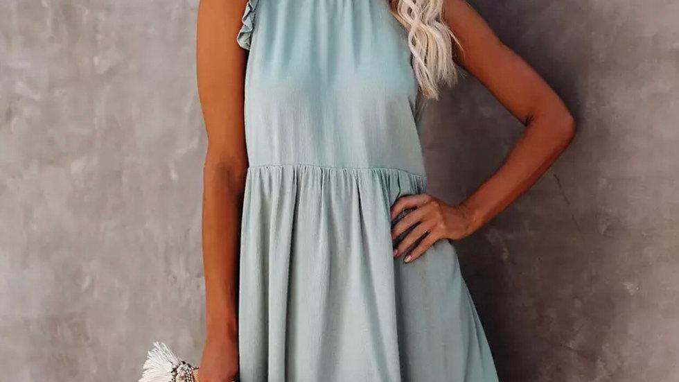 Blue ruffle sleeve knit midi dress