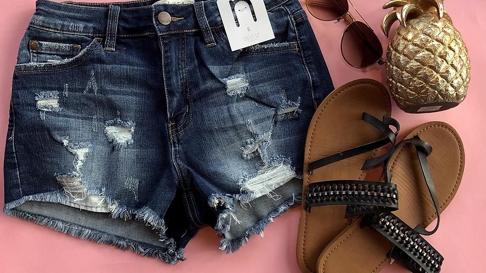 Denim frayed pocket drestroyed shorts