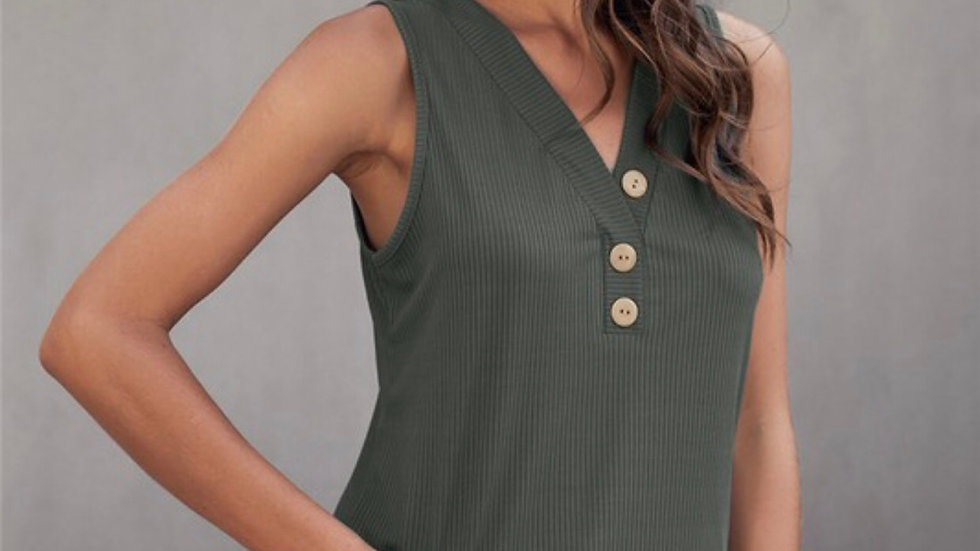 Green button front knit tank top