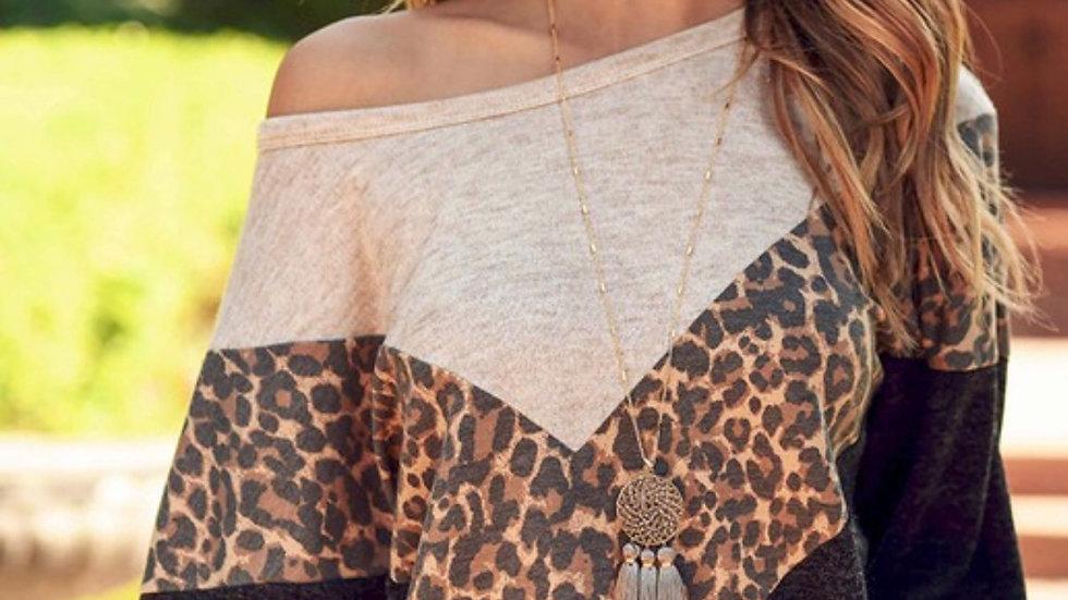 Oatmeal leopard chevron pullover sweatshirt