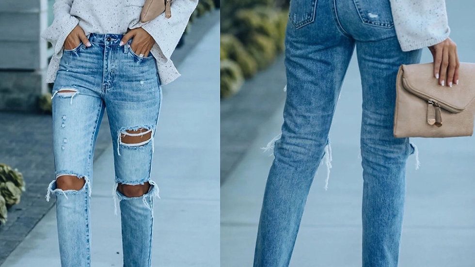 Light blue ripped denim skinny jeans