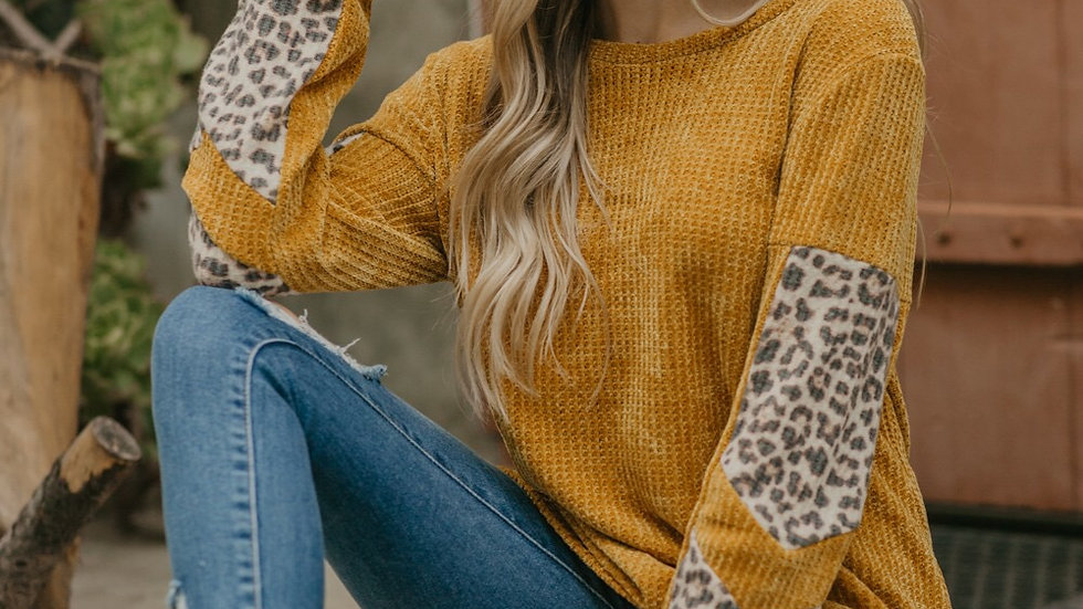 Mustard leopard print sleeve sweater