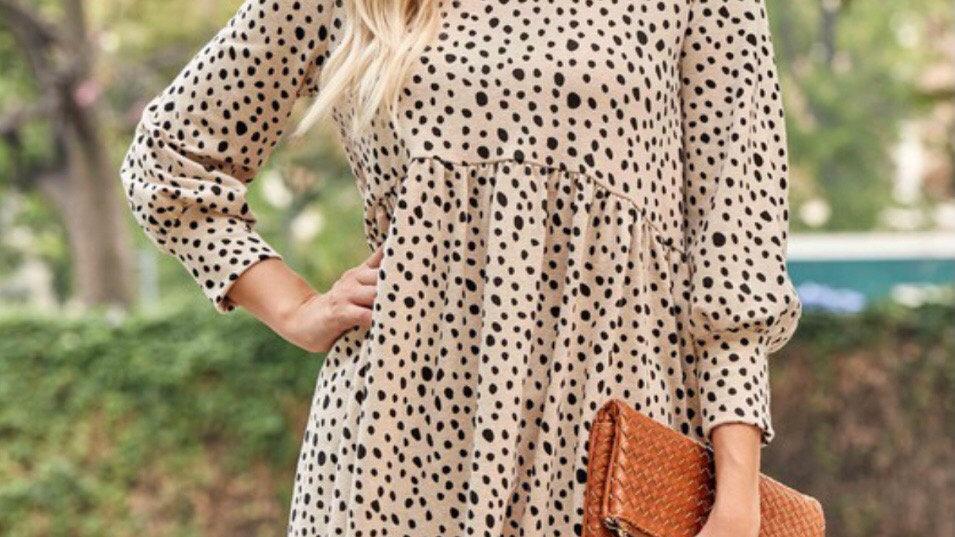 Beige leopard babydoll dress