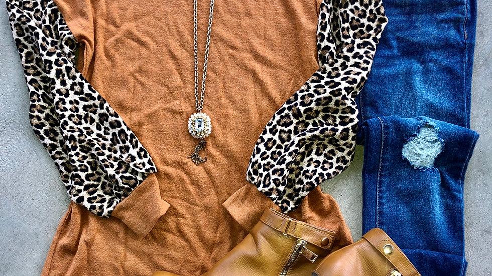 Rust leopard print sleeve tunic
