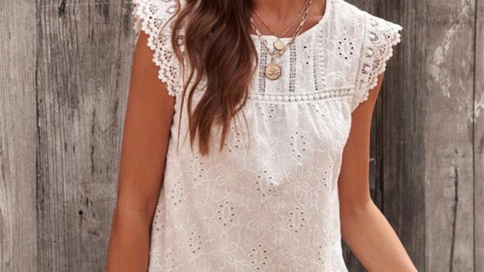 Ivory eyelit lace knit tank blouse