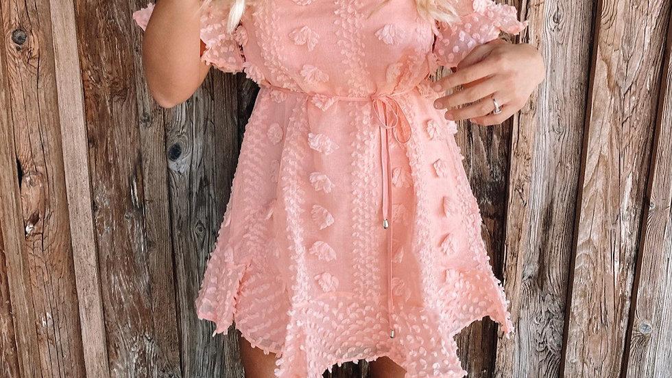 Blush bubble pom pom midi dress