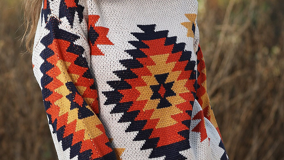 Ivory aztec tribal print oversized sweater