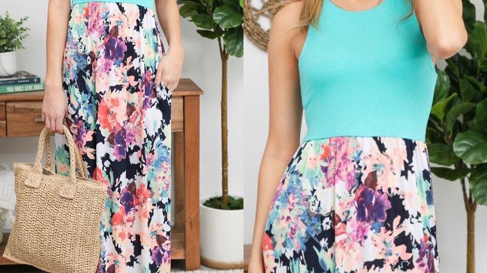 Mint racer back floral print maxi dress