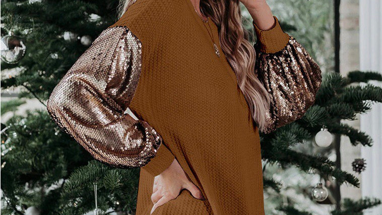 Waffle knit sequin sleeve tunic top blouse