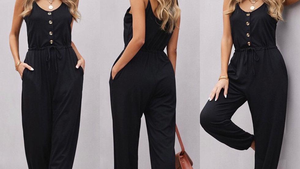 Black button tie waist jumpsuit