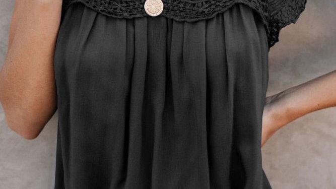 Black lace crochet blouse