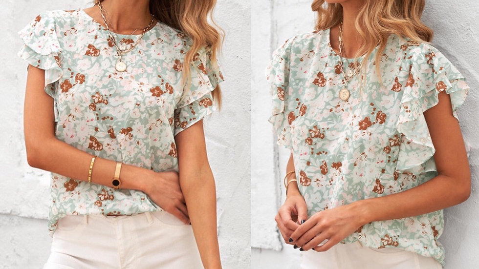 Green floral ruffled blouse